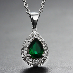 Green Created Emerald Sapphire 925 Solid Sterling Silver stone Pendant Necklace