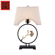 modern metal act bird fabric lampshade hotel table lamp with Energy saving light bulb