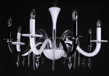 modern colored glass chandelier, black and white glass chandelier