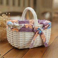 Buy grey round willow wicker storage basket with liner and handles ...