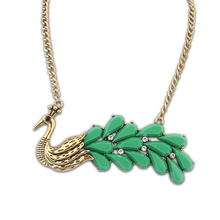 Green resin diamond peacock jewellery sets indian jewelry bulk charm necklace wholesales PN2001