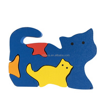 small promotion farm animal cat jigsaw wooden puzzles for children