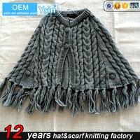 Multi Color Winter Woman Plain Acrylic Chunky Solid infinity scarf knitted ponchos shawls Wholesale