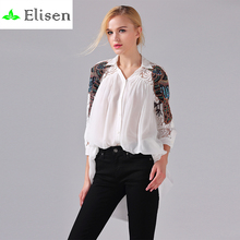 White Brief Blouse Women 2016 Spring Summer White / Black/Sky Blue Parrot Embroidery Beaded Lace Half Sleeve Solid Casual Blouse