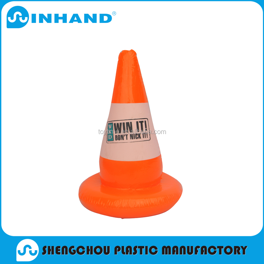 Funny orange pvc inflatable traffic sign series with logo printing