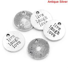 "Round Antique Silver ""Live Laugh Love"" & Stripe Carved Charm Pendants"