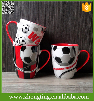 Factory direct Fashion custom made printed cheap ceramic soccer mug
