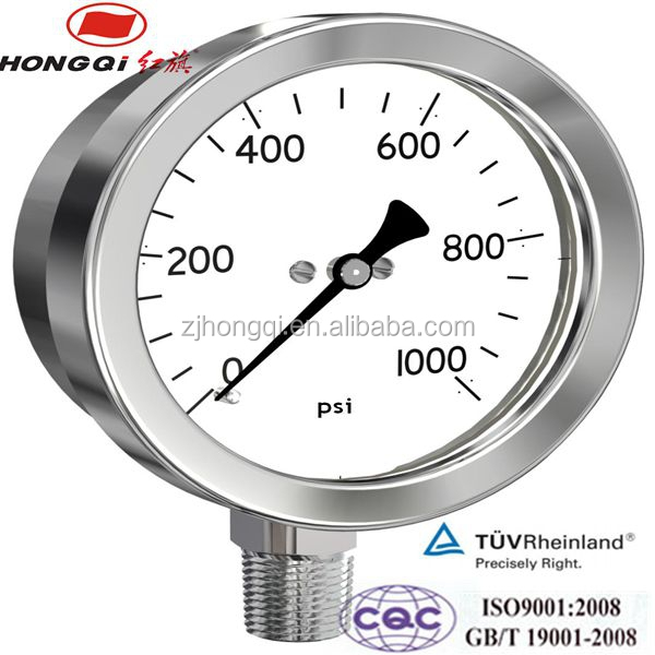 "4'' Face - 1/2"" Male Thread Bottom Connection Stainless Steel Bourdon tube pressure gauge"