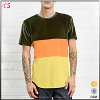 New product oem custom velour color block men t shirt with wholesale price