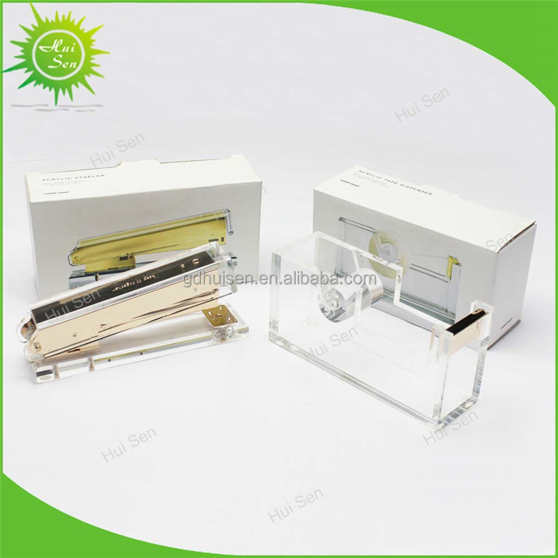 Acrylic Gold Tape Dispenser Inspired Clear Plastic Office Desk