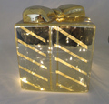 Wholesale newest led light glass christmas large decorative gift boxes glass ornaments