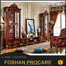 Classical Baroque Style Design One Two Doors Living Room Wood TV Wine Glass Display Cabinets