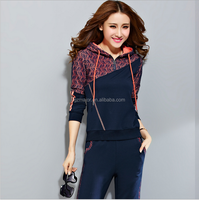 2016 High quality pure cotton new style velour women tracksuit leisure wear
