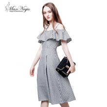 MaxNegio New 2018 Fashion Vintage Clothing Pleated Plaid Skirt Casual Off Shoulder -Straps Frills Dress