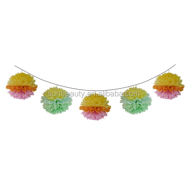 Pompom garland,wedding favors China,party supplies wholesale
