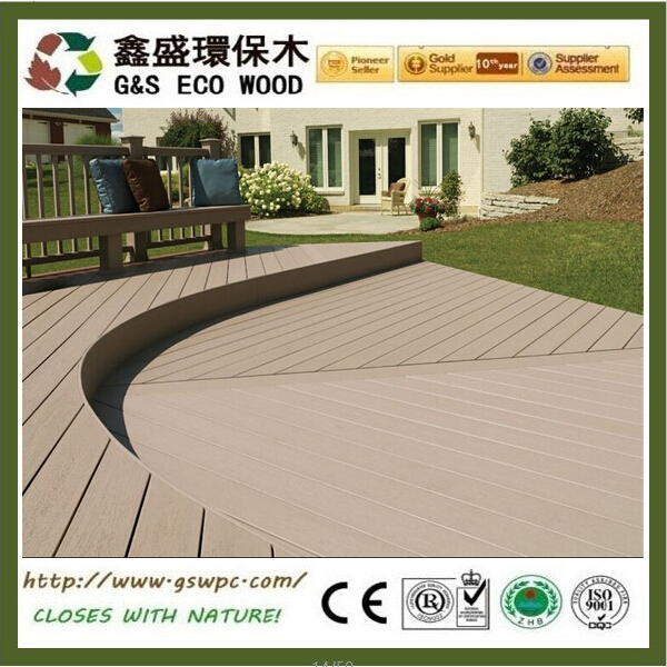 Fire Resistant Villa used anti-uv wpc decking material eco-friendly composite wood plastic decking