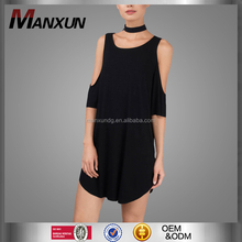 OEM And ODM Clothing Black Ladies Plain T-Shirt Dresses Cold Shoulder Tops Woman Dress
