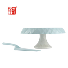 Light blue tableware cake plate , decorative ceramic 11 inch wedding cake stand with shovel