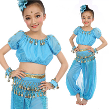 Fashion 5 Piece Children Dance Clothing Belly Dance Dress Top / Trousers / Waist Chain / Headpiece / Bracelet