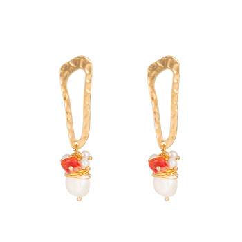 Statement jewelry natural freshwater pearl red coral earrings