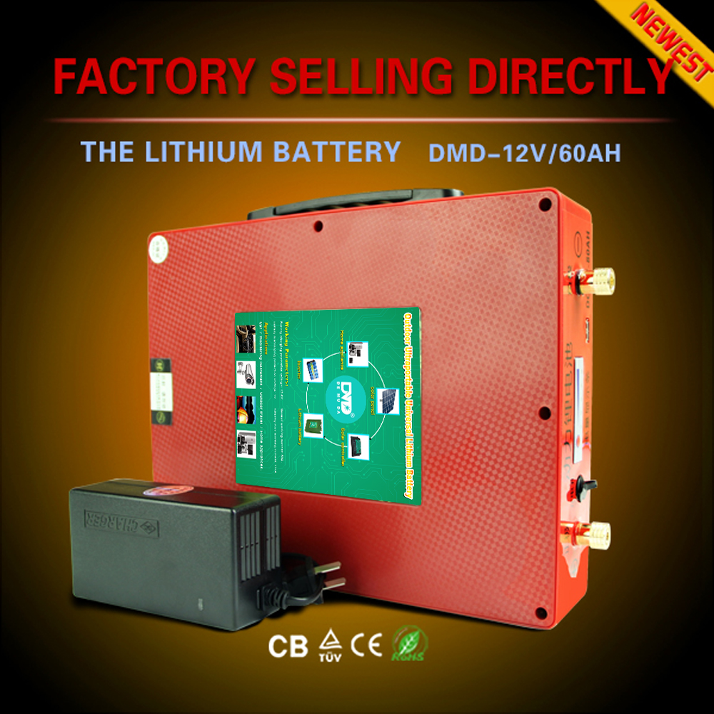 Deep cycles ultra thin portable rechargeable lithium ion 18650 solar storage battery 60ah 12v