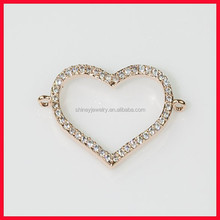 For DIY bracelet,charm AAA cz bling 925 sterling silver micro pave cz heart connect for bracelet