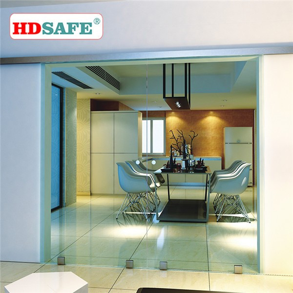 China modern style aluminum sliding door with 10mm tempered glass