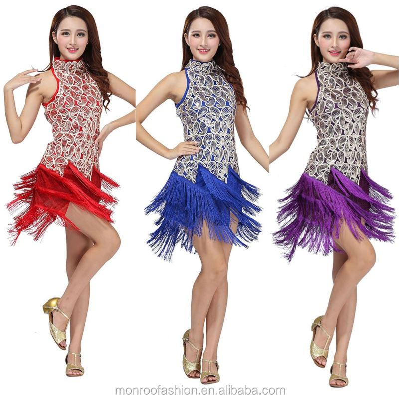 monroo New Sexy Sequin Dance Dress Latin Tango Ballroom Salsa Fringes Tassels Dresses