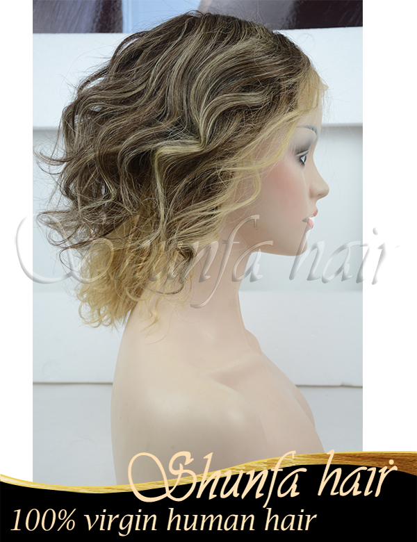 Wholesale price New style Easeful Blonde Wavy Chin Length Petite Wigs