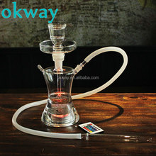 Okway Russian Shisha Nargile All Glass hookah with led In Leather Box