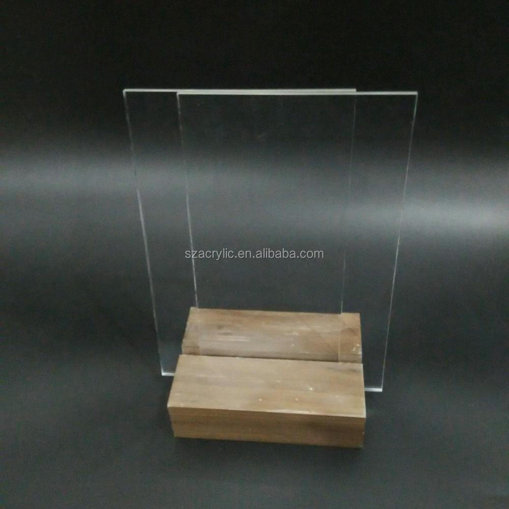 Clear acrylic customized photo frame picture display with wood base