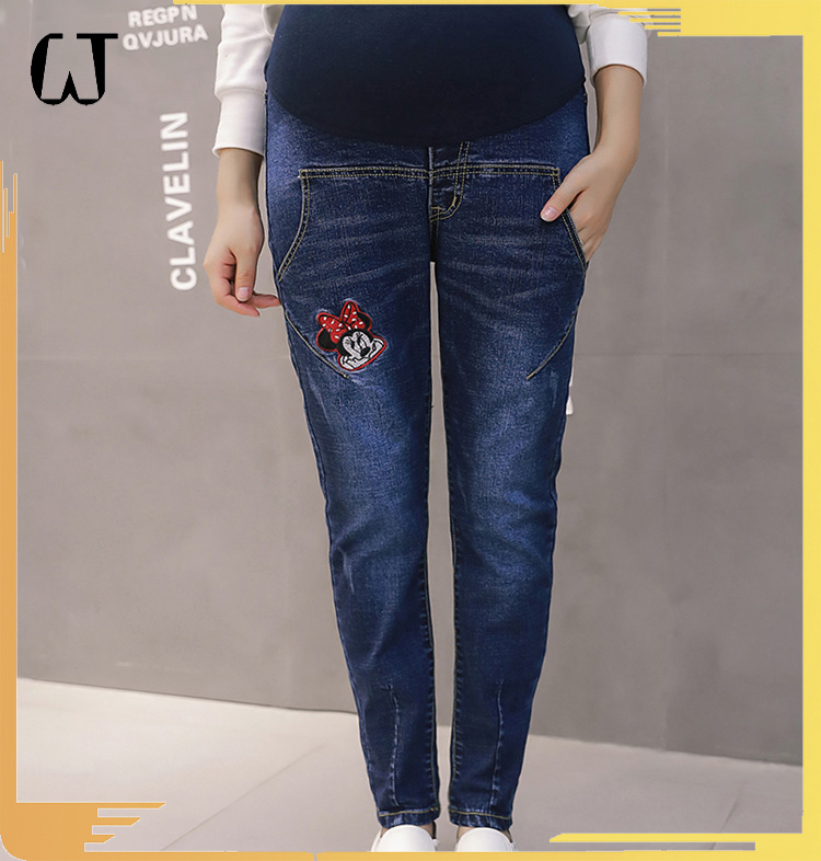 J715# 2017 fashion high-ankle enbroidered maternity jeans long pants stocks