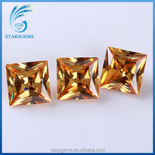 5x5mm AAA high quality champagne color princess cut square shape cubic zirconia