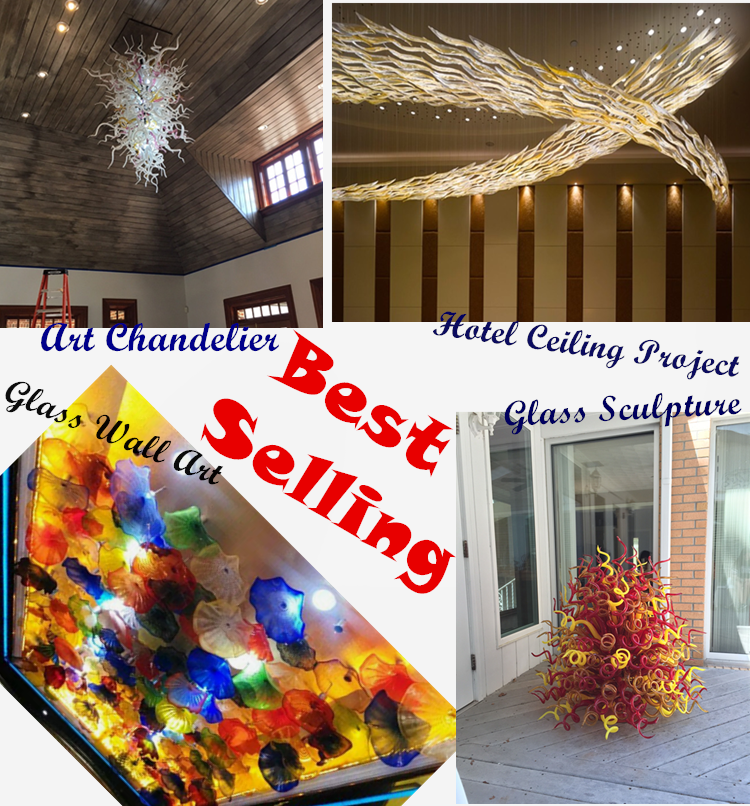 Hand blown glass art ceiling hanging colored glass light fixture