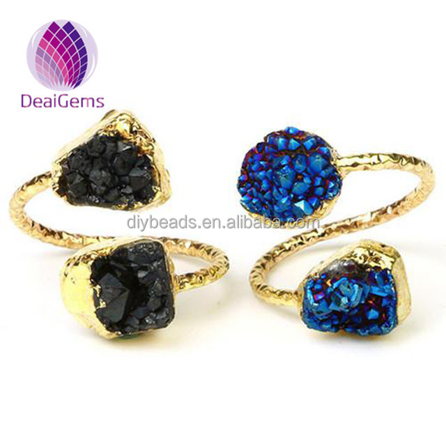 fashional adjustable gold plated 9x10mm two gemstone S shape natural druzy ring