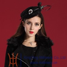 Black Hair Fascinators With Feather For Weddings