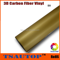 TSAUTOP ROHS Certificate 1.52*30m with channel gold 3d carbon fiber 3d car wrapping paper roll