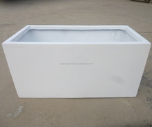 FRP white color planters poly resin made rectangular flower pot fiberglass long