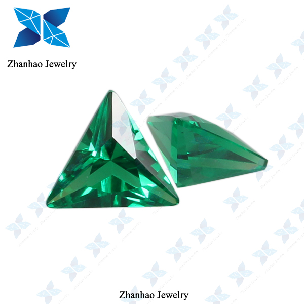 Green triangle natural glowing stone for jewelry making