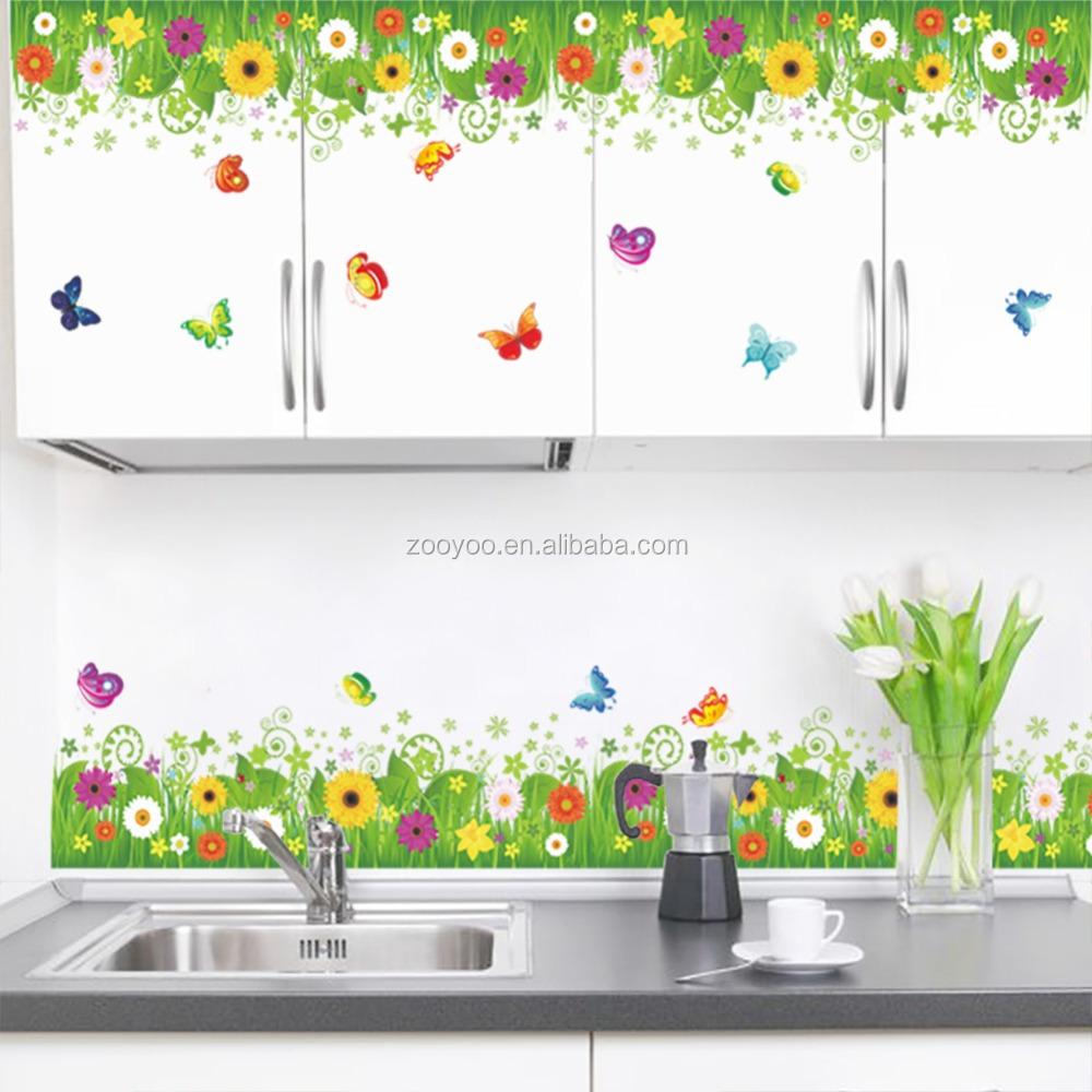 ... Kleurrijke Interieur Bloemen Gras Muurstickers Slaapkamer Decoratie