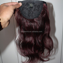 Factory hair wholesale top quality human hair last long brazilian hair clip ponytail