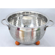 3 Quart Stainless Steel Colander With Handle And Ball Feet Deep Bowl Perfect for Washing Rinsing