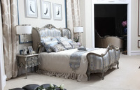 Luxury Antique Silver French Style Soft Bed, Classic Royal Custom Bedroom Furniture BF11-10302a
