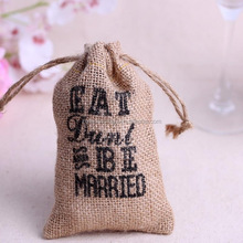 10pcs 15*9cm small Burlap Bags with Drawstring wedding supplies birthday favor bags BEST DAY OVER Rustic Shabby Chic Candy Bags