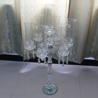 Wholesale crystal candle holder glass wedding decoration