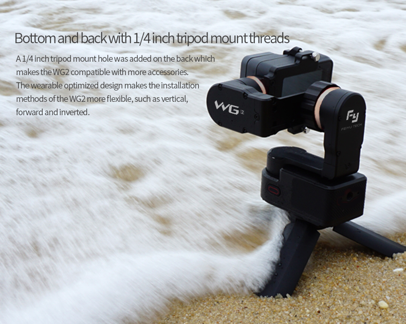 FeiyuTech WG2 FY Wearable Gimbal Waterproof Stabilizer for Gopr o Her o 5/4 Session Xiaoyi 4K Sport Camera