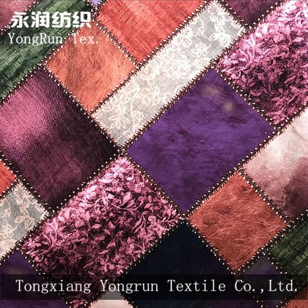home textile upholstery printed velvet fabric for sofas