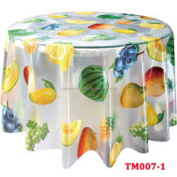 Wholesale Cheap Waterproof Transparent Printed PVC round tablecloth