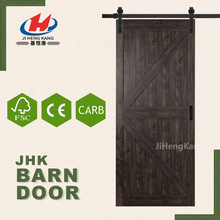 JHK-SK09 Decorative Interior Shutters Black Walnut Sliding Barn Door For Meeting room