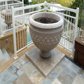 Yellow granite flower pot